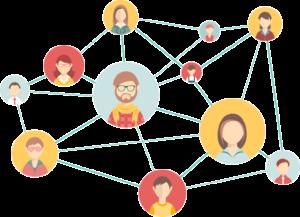Kuvassa ihmiset ovat verkottuneet toisiinsa nettiyhteyden avulla. Verkottuminen lisää verkkonäkyvyyttä.