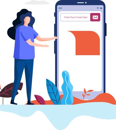 Piirroksessa tyttö selaa kotisivuja kännykällä. Tehokkaat kotisivut toimivat hyvin myös mobiilissa.