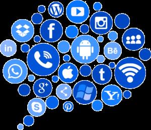 Piirretyssä kuvassa usean sosiaalisen median ikoneita sinisellä pohjalla. Linkit sosiaaliseen mediaan parantavat verkkonäkyvyyttä.