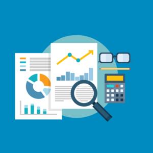 Digimarkkinointi toimii parhaiten, kun eri markkinointikampanjoiden tulokset analysoidaan huolellisesti. Kuvan piirroksessa analyysiä tehdään suurennuslasin kanssa.