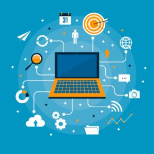 Digimarkkinointi kerää sivukäyntejä eri kanavilta. Kuvassa eri kanavat on yhdistetty tietokoneeseen ja selaimeen.