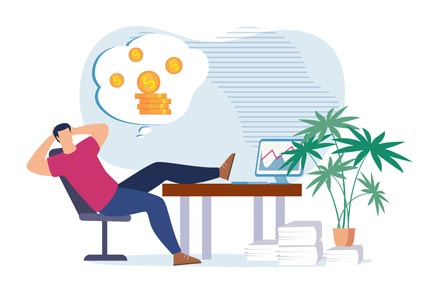Ota yhteyttä, jos haluat vähän rentoutua. Kuvassa piirroksen yrittäjä katsoo tietokoneelta, miten yritys tekee tulosta.